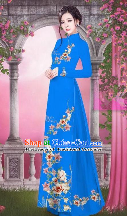 Top Grade Asian Vietnamese Traditional Dress, Vietnam Bride Ao Dai Printing Peach Blossom Flowers Dress, Vietnam Princess Royalblue Dress Cheongsam Clothing for Women