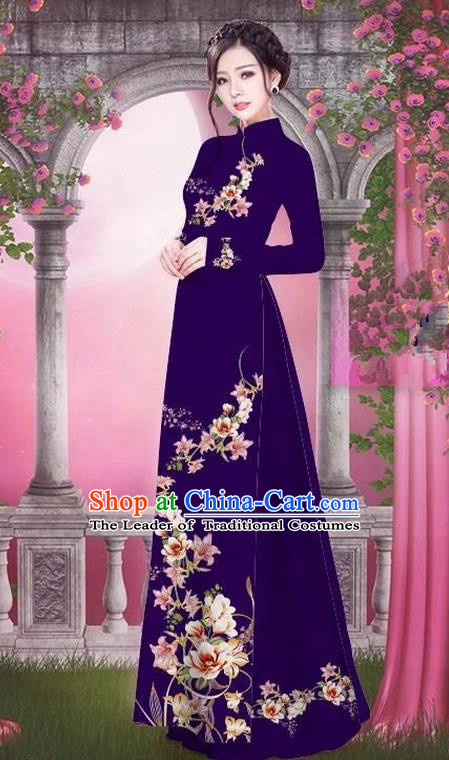 Top Grade Asian Vietnamese Traditional Dress, Vietnam Bride Ao Dai Printing Peach Blossom Flowers Dress, Vietnam Princess Purple Dress Cheongsam Clothing for Women