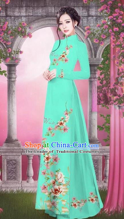 Top Grade Asian Vietnamese Traditional Dress, Vietnam Bride Ao Dai Printing Peach Blossom Flowers Dress, Vietnam Princess Blue Dress Cheongsam Clothing for Women