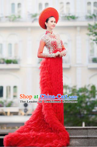 Top Grade Asian Vietnamese Traditional Dress, Vietnam Bride Ao Dai Dress, Vietnam Princess Wedding Veil Dress Red Cheongsam Clothing for Women