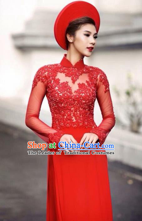 Top Grade Asian Vietnamese Traditional Dress, Vietnam Bride Ao Dai Dress, Vietnam Princess Wedding Lace Dress Red Cheongsam Clothing for Women