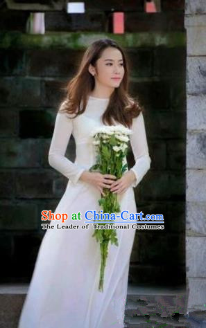Top Grade Asian Vietnamese Traditional Dress, Vietnam Bride Ao Dai Dress, Vietnam Princess Wedding White Full Dress Cheongsam Clothing for Women