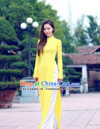 Top Grade Asian Vietnamese Traditional Dress, Vietnam Bride Ao Dai Dress, Vietnam Princess Wedding Yellow Dress and Pants Cheongsam Clothing for Women