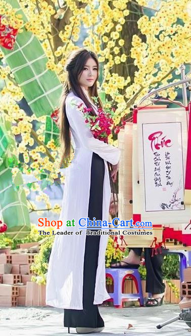 Top Grade Asian Vietnamese Traditional Dress, Vietnam Bride Ao Dai Dress, Vietnam Princess Wedding White Dress and Black Pants Cheongsam Clothing for Women