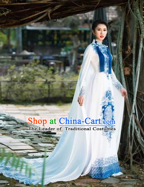 Top Grade Asian Vietnamese Traditional Dress, Vietnam Bride Ao Dai Dress, Princess Wedding Dress Cheongsam Clothing Complete Set for Women