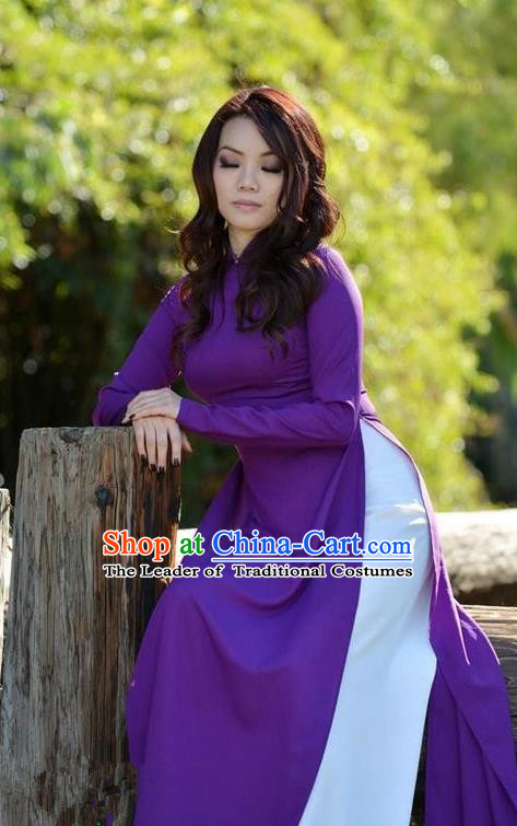 Top Grade Asian Vietnamese Traditional Dress, Vietnam Bride Ao Dai Dress, Vietnam Princess Wedding Purple Silk Dress Cheongsam Clothing for Women
