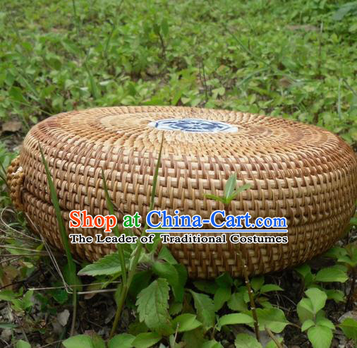 Top Asian Vietnamese Traditional Rattan Plaited Articles, Vietnam Round Tea Caddy Handicraft Candy Canister