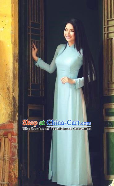Top Grade Asian Vietnamese Traditional Dress, Vietnam Bride Ao Dai Dress, Vietnam Princess Wedding Blue Silk Dress and Loose Pants Cheongsam Clothing for Women