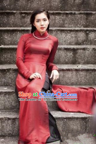 Top Grade Asian Vietnamese Traditional Dress, Vietnam Bride Ao Dai Dress, Vietnam Princess Wedding Red Silk Dress and Loose Pants Cheongsam Clothing for Women