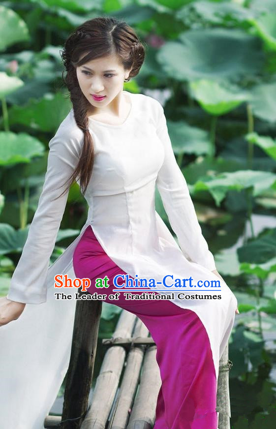 Top Grade Asian Vietnamese Traditional Dress, Vietnam Bride Ao Dai Dress, Vietnam Princess Wedding White Dress Cheongsam Clothing for Women