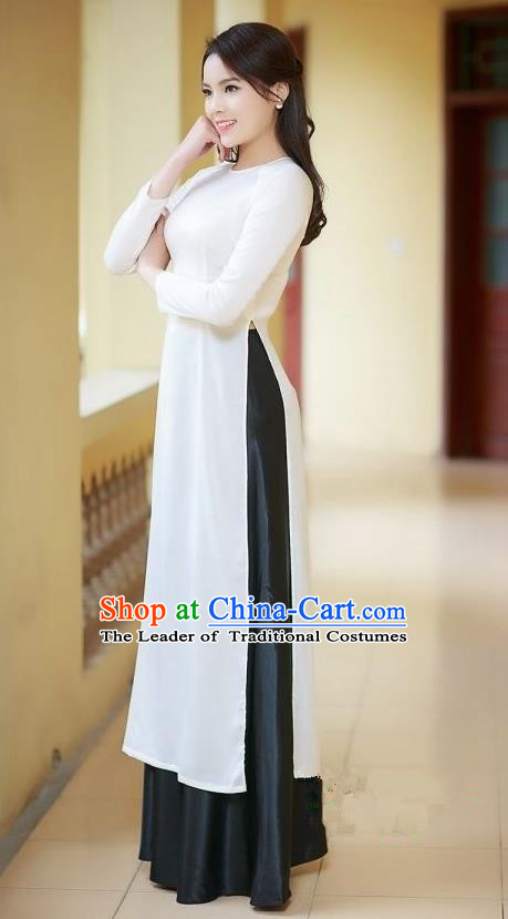 Top Grade Asian Vietnamese Traditional Dress, Vietnam Ao Dai Dress, Vietnam Princess White Silk Full Dress Cheongsam Clothing for Women