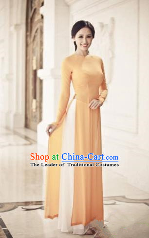 Top Grade Asian Vietnamese Traditional Dress, Vietnam Ao Dai Dress, Vietnam Princess Orange Full Dress and Pants Cheongsam Clothing for Women
