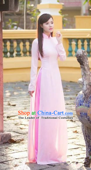 Top Grade Asian Vietnamese Traditional Dress, Vietnam Ao Dai Dress, Vietnam Princess Pink Full Dress and Pants Cheongsam Clothing for Women