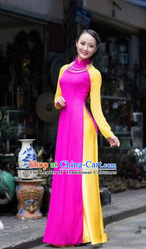 Top Grade Asian Vietnamese Traditional Dress, Vietnam Ao Dai Dress, Vietnam Princess Rose Silk Full Dress and Pants Cheongsam Clothing for Women