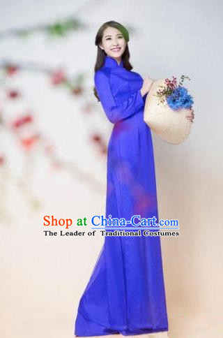 Top Grade Asian Vietnamese Traditional Dress, Vietnam Ao Dai Dress, Vietnam Princess Silk Blue Dress and Pants Hat Complete Set Cheongsam Clothing for Women