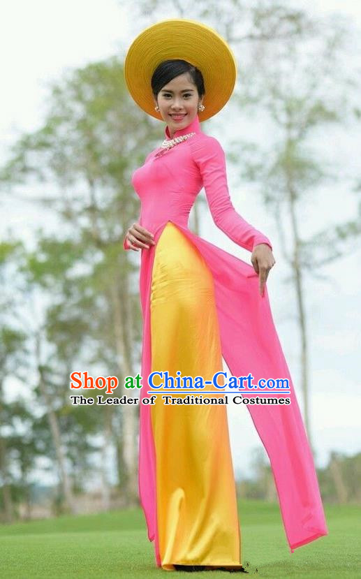 Top Grade Asian Vietnamese Traditional Dress, Vietnam Ao Dai Dress, Vietnam Princess Silk Pink Dress and Pants Hat Complete Set Cheongsam Clothing for Women