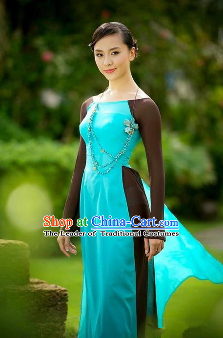 Top Grade Asian Vietnamese Traditional Dress, Vietnam National Ao Dai Dress, Vietnam Princess Silk Blue Dress and Pants Complete Set Cheongsam Clothing for Women