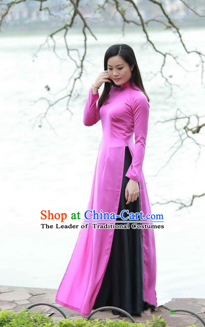 Top Grade Asian Vietnamese Traditional Dress, Vietnam National Ao Dai Dress, Vietnam Princess Rose Dress and Pants Complete Set Cheongsam Clothing for Women