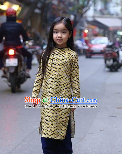 Top Grade Asian Vietnamese Traditional Dress, Vietnam National Children Ao Dai Dress, Vietnam Girls Golden Dress Cheongsam Clothing for Kids