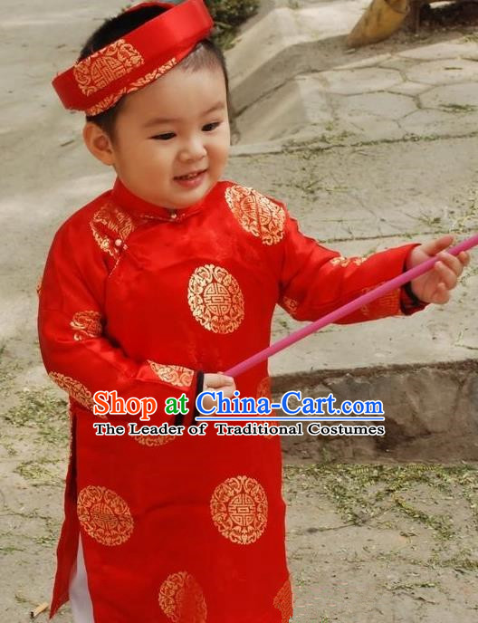 Top Grade Asian Vietnamese Traditional Dress, Vietnam National Children Ao Dai Dress, Vietnam Girls Red Dress Cheongsam Clothing for Kids
