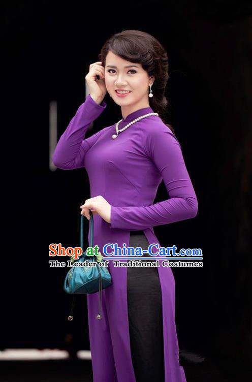 Top Grade Asian Vietnamese Traditional Dress, Vietnam National Dowager Ao Dai Dress, Vietnam Princess Purple Silk Dress and Pants Complete Set Cheongsam Clothing for Woman