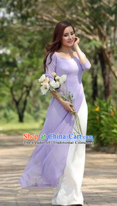 Top Grade Asian Vietnamese Traditional Dress, Vietnam National Dowager Ao Dai Dress, Vietnam Purple Dress and Satin Pants Complete Set Cheongsam Clothing for Woman