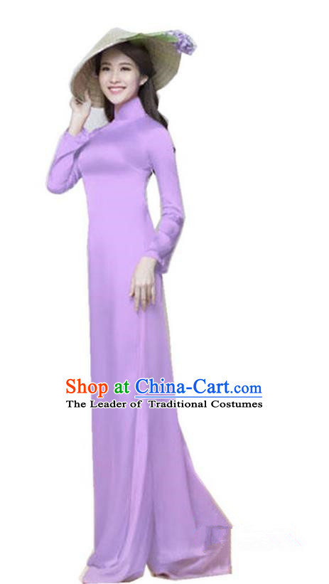Top Grade Asian Vietnamese Traditional Dress, Vietnam National Dowager Ao Dai Dress, Vietnam Purple Silk Cheongsam Dress and Pants Complete Set for Woman