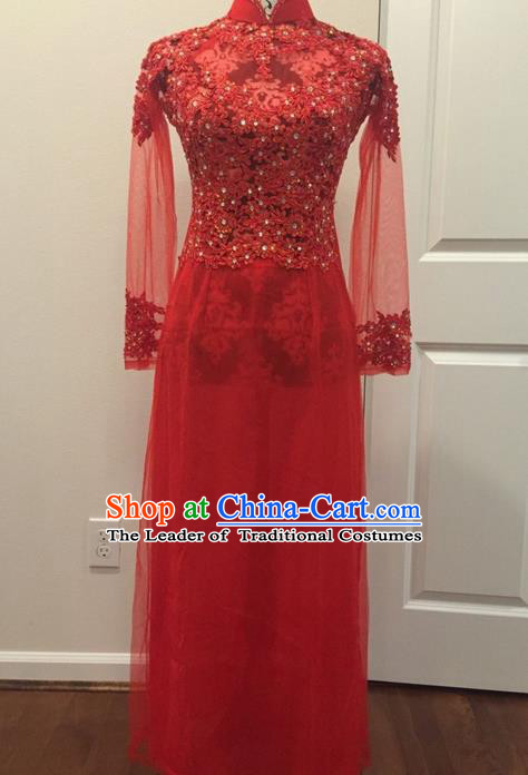 Top Grade Asian Vietnamese Traditional Dress, Vietnam National Female Ao Dai Dress, Vietnam Bride Red Lace Cheongsam Wedding Clothing for Women