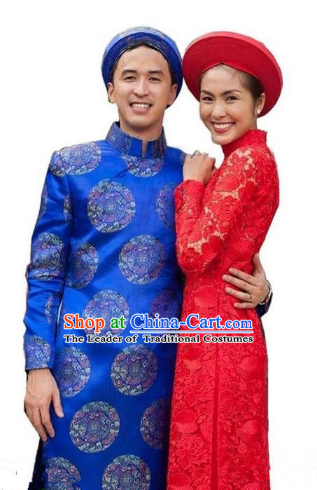 Top Grade Asian Vietnamese Traditional Dress, Vietnam National Ao Dai Dress, Vietnam Bridegroom Bride Red Lace Cheongsam Wedding Clothing for Women for Men