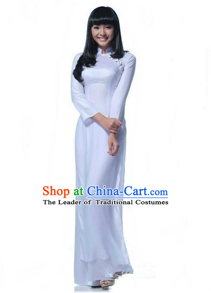 Top Grade Asian Vietnamese Traditional Dress, Vietnam National Young Lady Ao Dai Dress, Vietnam Bride White Cheongsam and Pants Wedding Clothing for Women