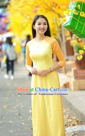 Top Grade Asian Vietnamese Traditional Dress, Vietnam National Young Lady Ao Dai Dress, Vietnam Bride Yellow Cheongsam and Pants Clothing Complete Set for Women