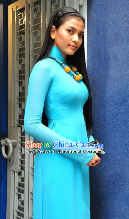 Top Grade Asian Vietnamese Traditional Dress, Vietnam National Young Lady Ao Dai Dress, Vietnam Bride Blue Cheongsam and Pants Clothing Complete Set for Women