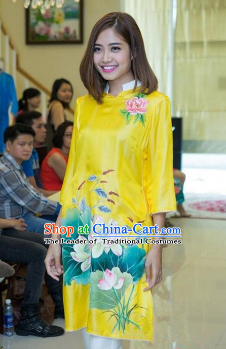 Top Grade Asian Vietnamese Traditional Dress, Vietnam National Young Lady Ao Dai Dress, Vietnam Bride Yellow Cheongsam Printing Blouse for Women