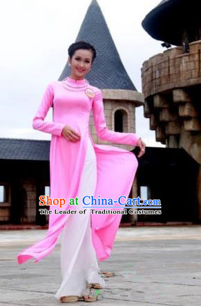 Top Grade Asian Vietnamese Traditional Dress, Vietnam National Young Lady Ao Dai Dress, Vietnam Bride Pink Cheongsam and Pants Complete Set for Women