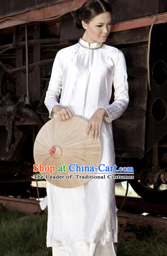 Top Grade Asian Vietnamese Traditional Dress, Vietnam National Young Lady Ao Dai Dress, Vietnam Queen White Brocade Cheongsam and Pants Complete Set for Women