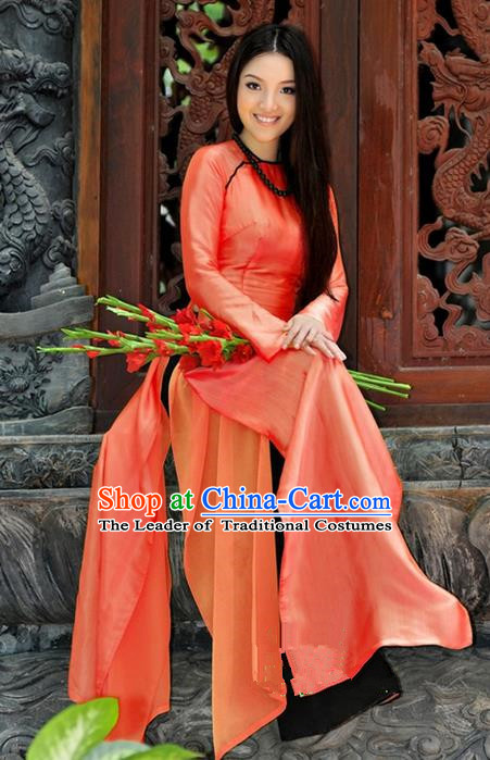 Top Grade Asian Vietnamese Traditional Dress, Vietnam National Young Lady Ao Dai Dress, Vietnam Lady Cheongsam for Women
