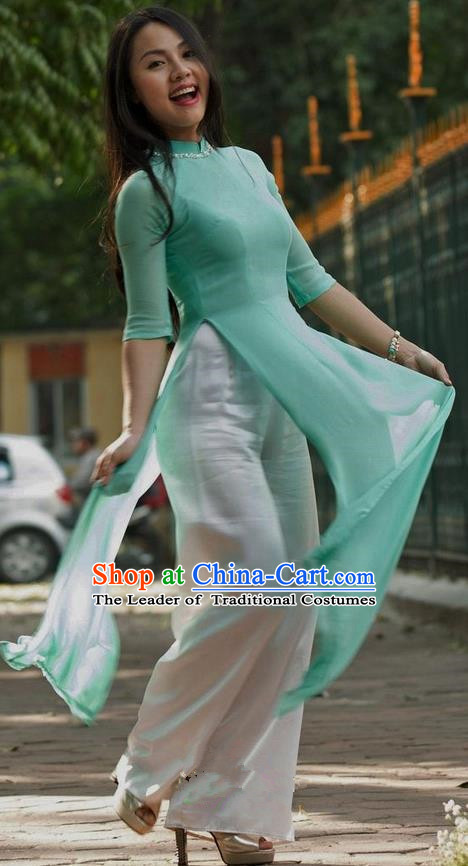 Top Grade Asian Vietnamese Traditional Dress, Vietnam National Young Lady Ao Dai Dress, Vietnam Princess Green Cheongsam and Pants Complete Set for Women