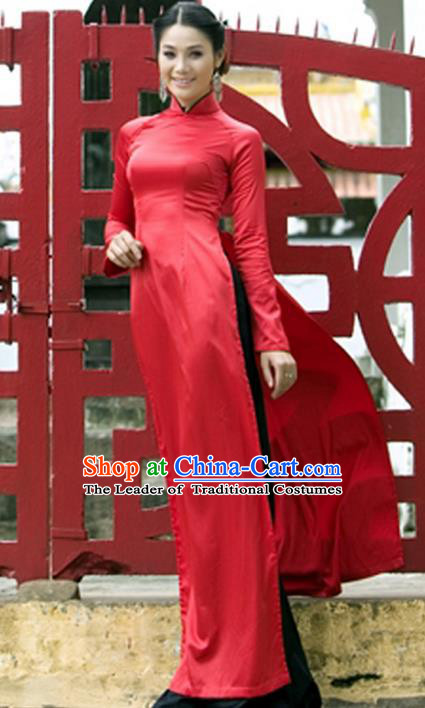 Top Grade Asian Vietnamese Traditional Dress, Vietnam National Young Lady Ao Dai Dress, Vietnam Princess Red Cheongsam Dress and Pants for Women