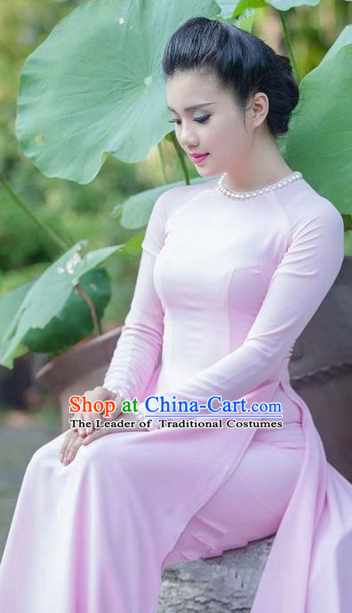 Top Grade Asian Vietnamese Traditional Dress, Vietnam National Young Lady Ao Dai Dress, Vietnam Princess Pink Chiffon Cheongsam Dress and Pants for Women