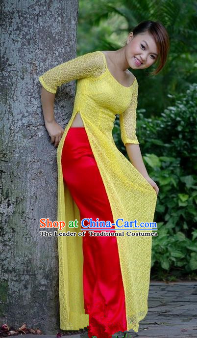 Top Grade Asian Vietnamese Traditional Dress, Vietnam National Young Lady Ao Dai Dress, Vietnam Princess Yellow Lace Cheongsam Dress and Pants for Women