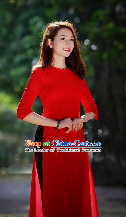 Top Grade Asian Vietnamese Traditional Dress, Vietnam National Young Lady Ao Dai Dress, Vietnam Princess Bride Red Cheongsam Dress and Pants for Women