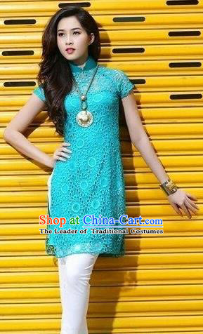 Top Grade Asian Vietnamese Traditional Dress, Vietnam National Dowager Ao Dai Dress, Vietnam Blue Cheongsam Clothing for Woman