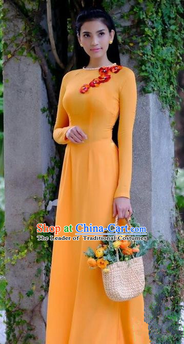 Top Grade Asian Vietnamese Traditional Dress, Vietnam National Dowager Ao Dai Dress, Vietnam Orange Chiffon Cheongsam Clothing for Woman
