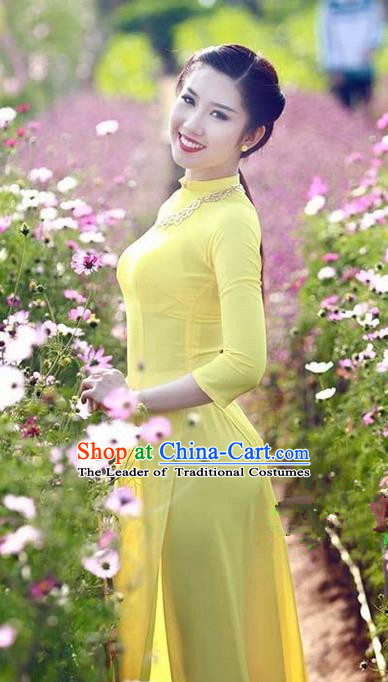 Top Grade Asian Vietnamese Traditional Dress, Vietnam National Dowager Ao Dai Dress, Vietnam Yellow Cheongsam and Pants Clothing for Woman