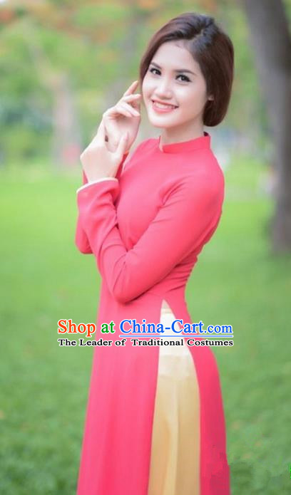 Top Grade Asian Vietnamese Traditional Dress, Vietnam National Dowager Ao Dai Dress, Vietnam Pink Cheongsam Dress and Pants for Woman