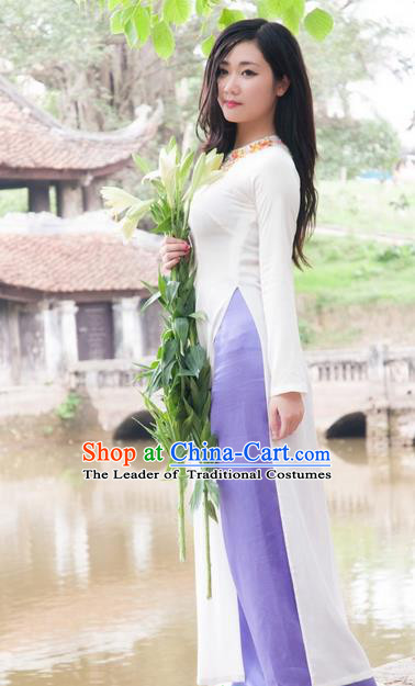 Top Grade Asian Vietnamese Traditional Dress, Vietnam National Dowager Ao Dai Dress, Vietnam Embroidered Cheongsam Dress and Pants for Woman