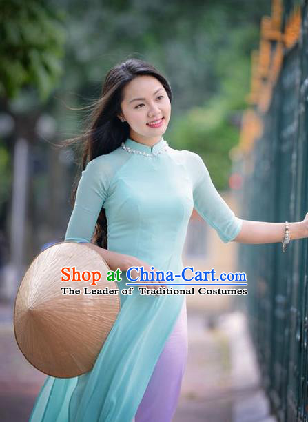 Top Grade Asian Vietnamese Traditional Dress, Vietnam National Dowager Ao Dai Dress, Vietnam Blue Silk Cheongsam Dress and Pants for Woman