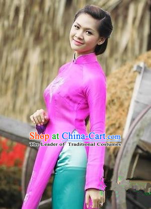 Top Grade Asian Vietnamese Traditional Dress, Vietnam National Dowager Ao Dai Dress, Vietnam Rose Embroidered Cheongsam Dress and Pants for Woman