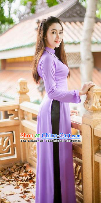 Top Grade Asian Vietnamese Traditional Dress, Vietnam National Dowager Ao Dai Dress, Vietnam Purple Cheongsam Dress and Pants for Woman