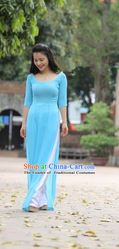 Top Grade Asian Vietnamese Traditional Dress, Vietnam National Dowager Ao Dai Dress, Vietnam Blue Ao Dai Cheongsam Dress and Pants for Woman